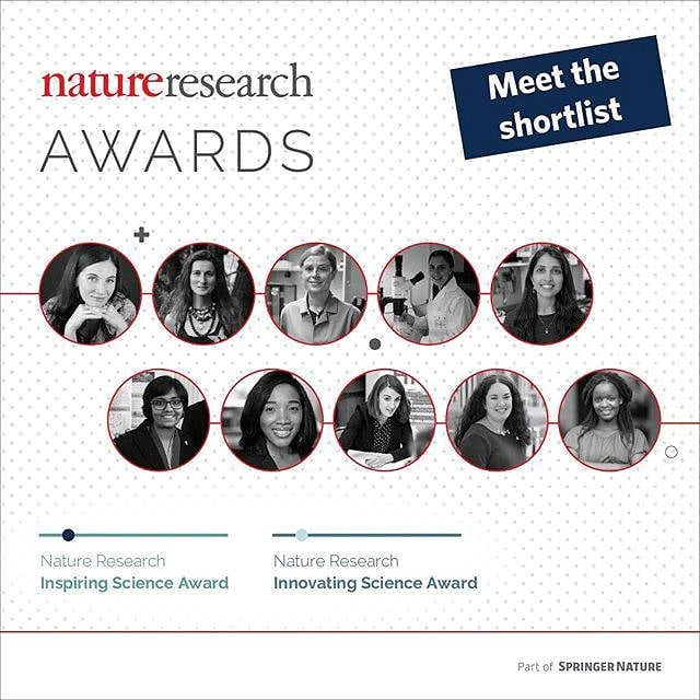 "Nature Research Award ""Meet the shortlist"" announcement with black and white photos of the 10 shortlisted nominees."